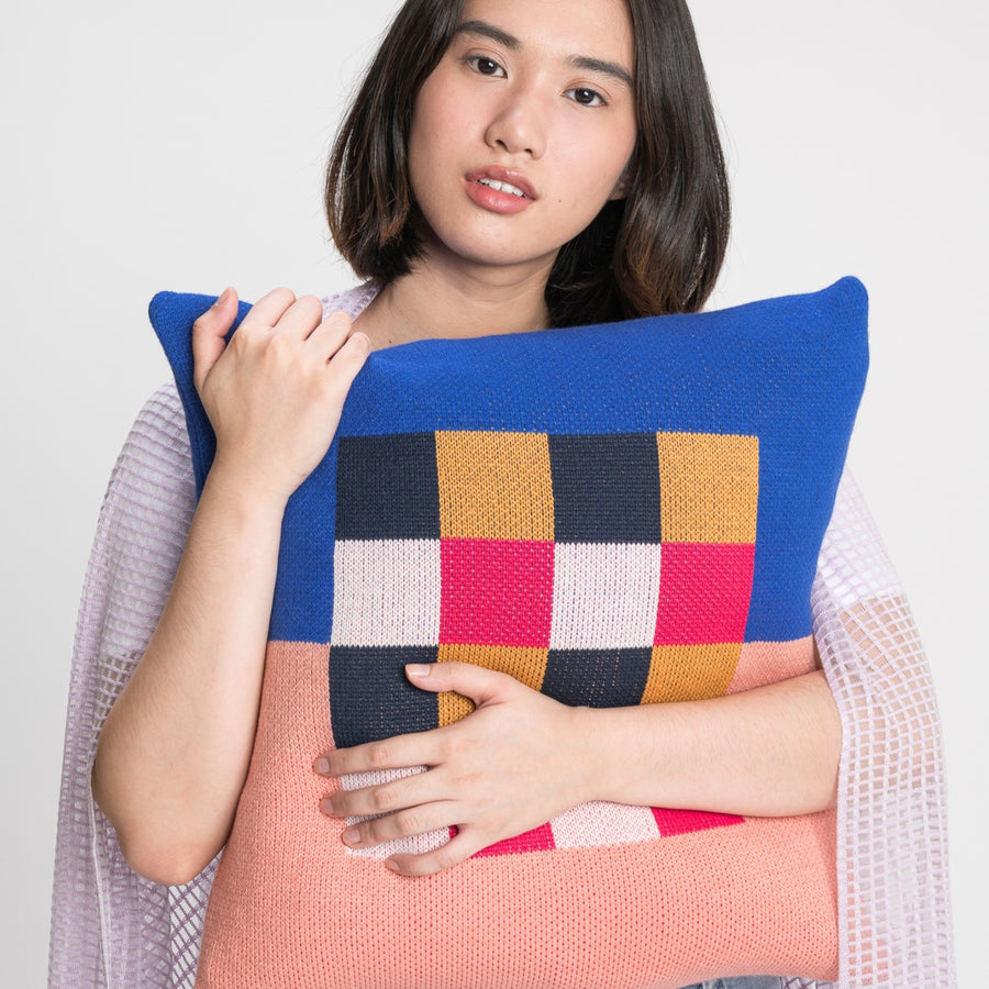 Cobalt Pink | Gingham Checkerboard Pillow Cover