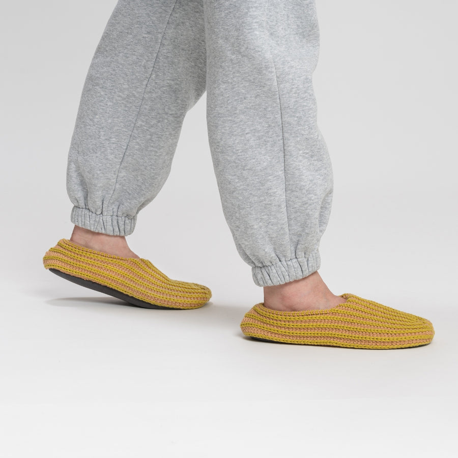 Golden Olive Camel | Chunky Rib Stripe Slippers