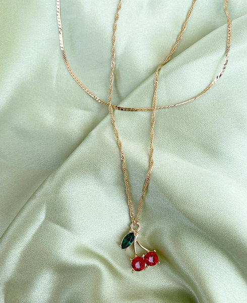 Cherry Choker Necklace 2 in 1