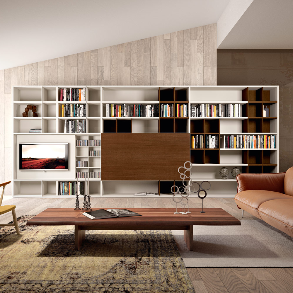 Fitted lounge and library composition