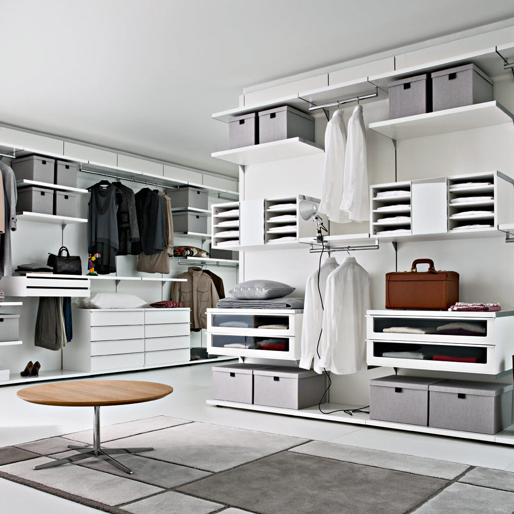 Bespoke shelving and walk in wardrobes for modern bedrooms