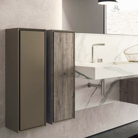 Novello Luxury Italian HPL Bathroom Wall Unit in Olmo Grigio finish