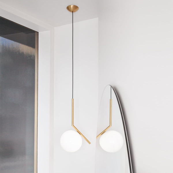 IC Light Suspension 1, brushed brass, blown glass (Ex- Display) designed by Michael Anastassiades for Flos