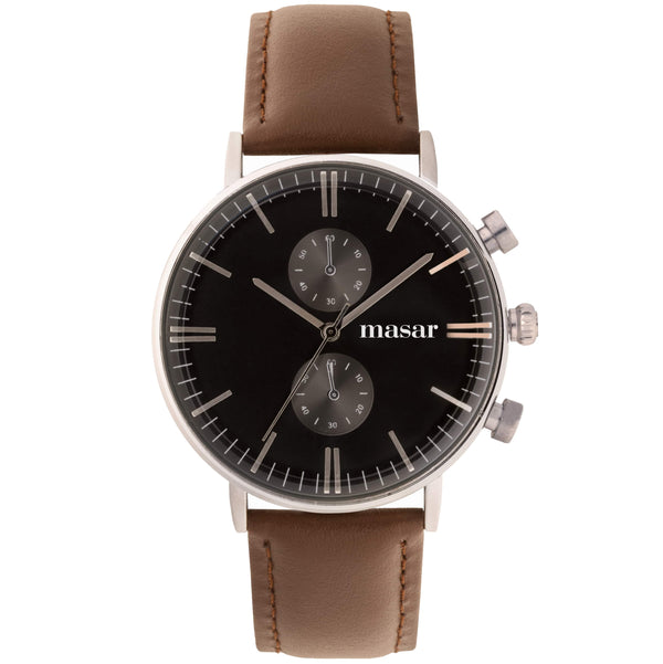 montre-homme-bracelet-cuir-marron-glorious-argent-silver-brown-black-band