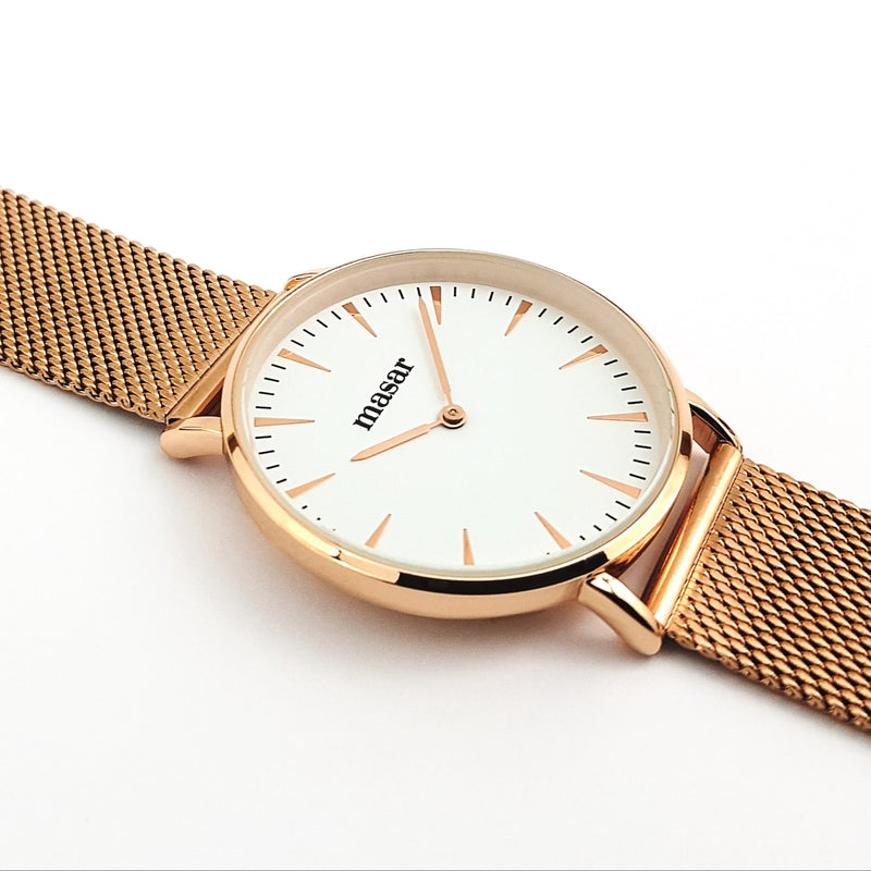 Neo-08 Montre Femme - Bracelet Milanaise Mesh Rose Gold White/Rose Gold