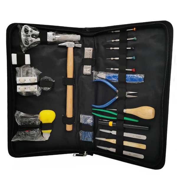 <transcy>Pro Artisan Leather Kit for the repair and maintenance of Watches | 21 pcs + a Masar 8 pcs Premium Spring Bar Kit + 2 tools</transcy>