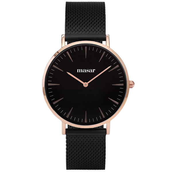 Neo-08 Montre Femme - Bracelet Milanaise Mesh Full Black/Rose Gold