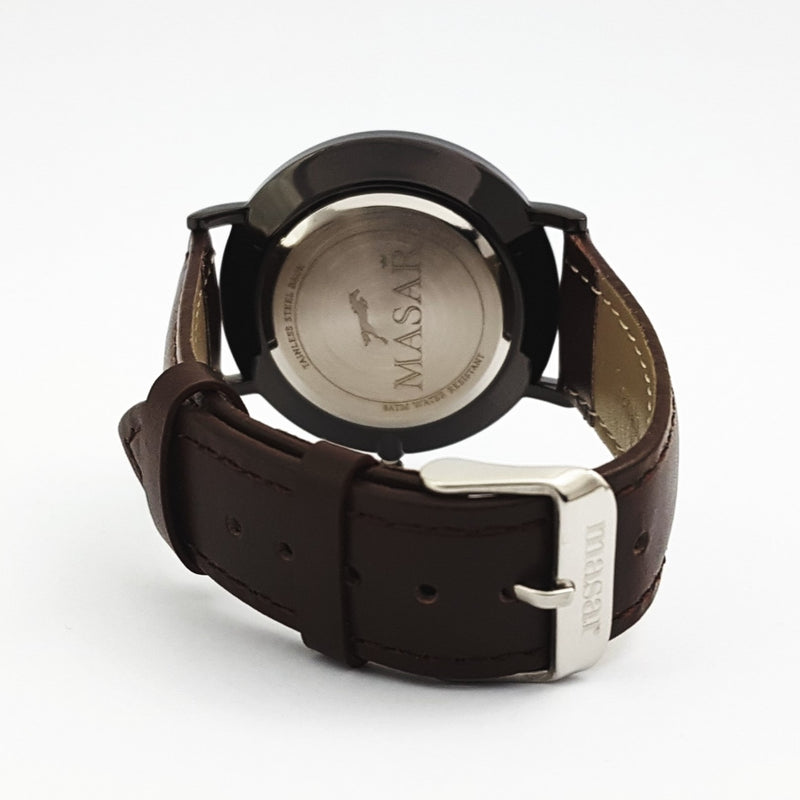 Neo-Z9 Montre Homme - Bracelet Cuir Black White/Brown