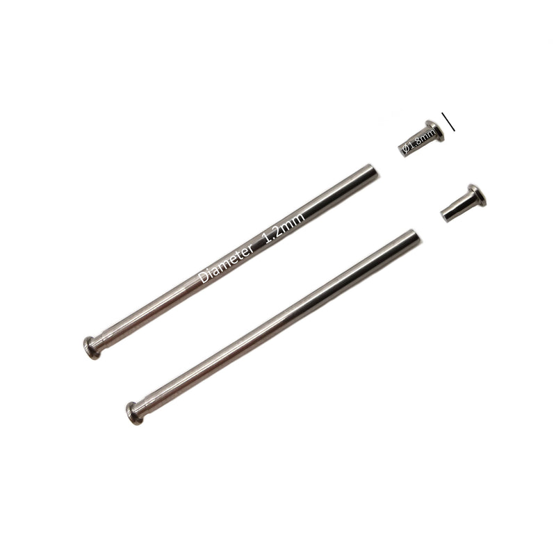 <transcy>10mm to 24mm | Ø 1.2mm | Pins with Tubes | Fittings | Large head rivets Ø1.80mm - Pressure bars and rivet ends</transcy>