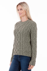 The Ridgewalk - Olive - Womens Aran Jumper