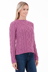 The Ridgewalk - Fuchsia - Womens Aran Jumper
