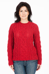 The Ridgewalk - Red - Womens Aran Jumper