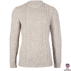 Johnson - Ash Marl British Wool Men's Aran Jumper