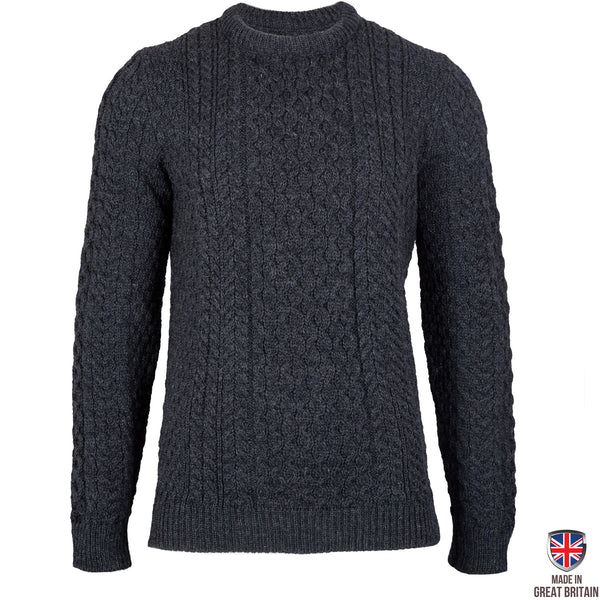 Johnson - Charcoal British Wool Men's Aran Jumper