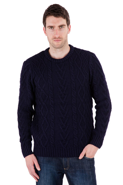 Horton - Navy Jumper Sweater - Pure British Wool