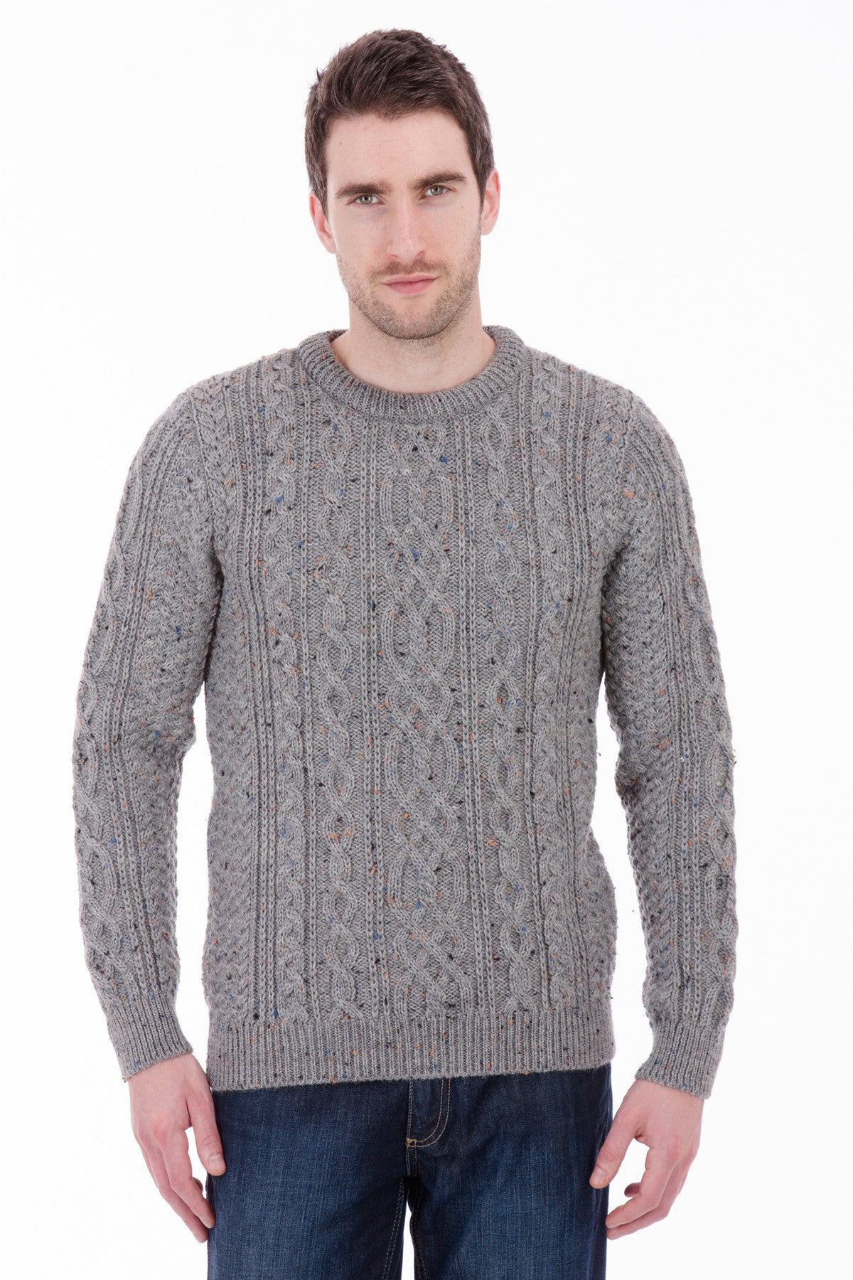 Thorpe - Dark Grey Nepp Jumper Sweater - Pure British Wool