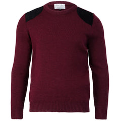 Shooter Edition I - Fine Knit Jumper - Round Patches - Pure British Wool - Burgundy