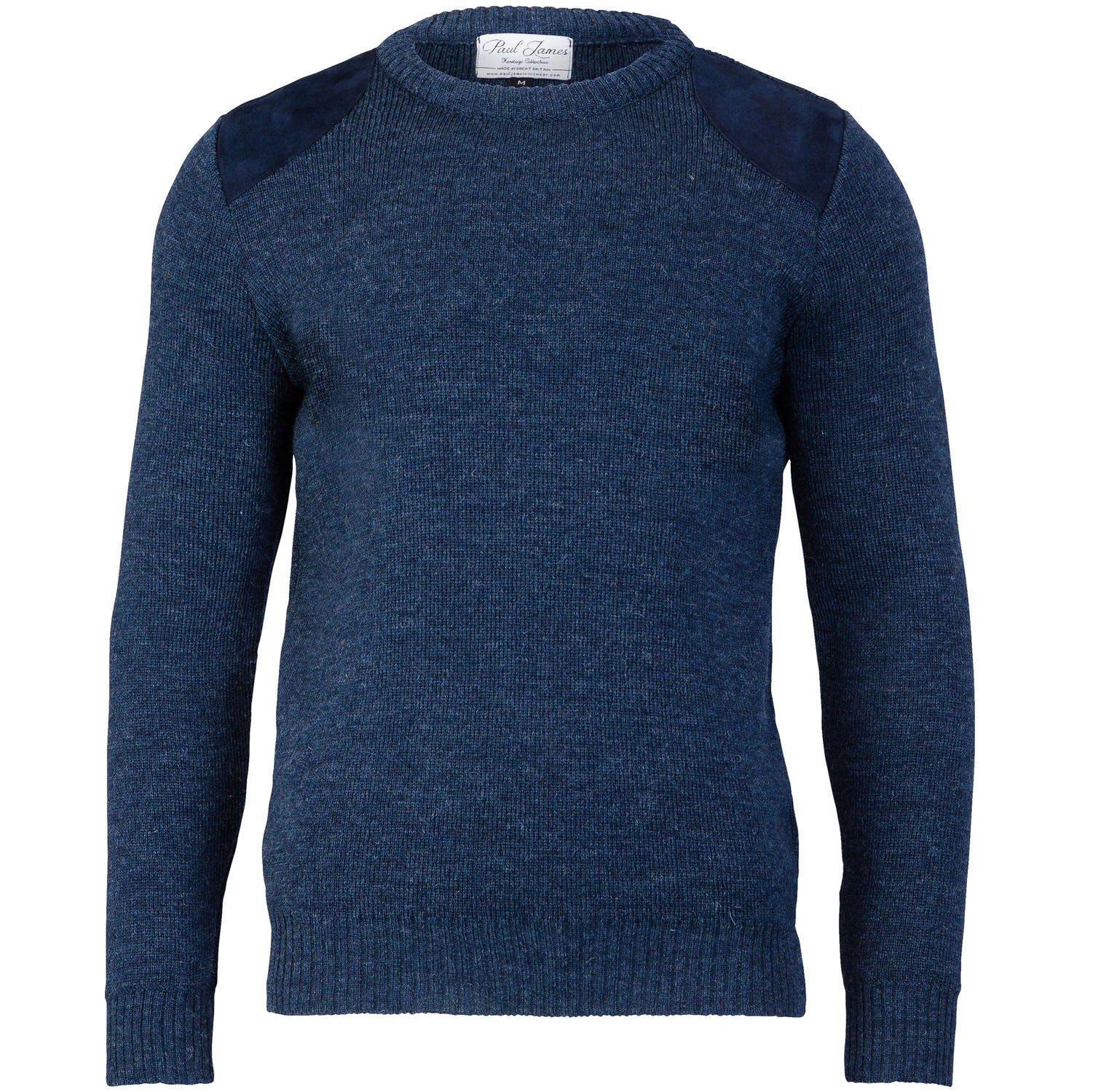 Shooter Edition I - Fine Knit Jumper - Round Patches - Pure British Wool - Denim