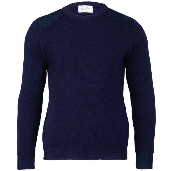 Shooter Edition I - Fine Knit Jumper - Round Patches - Pure British Wool - Navy
