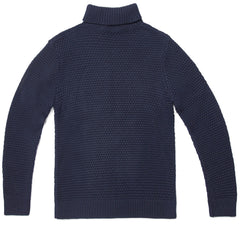Mens Merino Wool Roll Neck Moss Stitch Jumper
