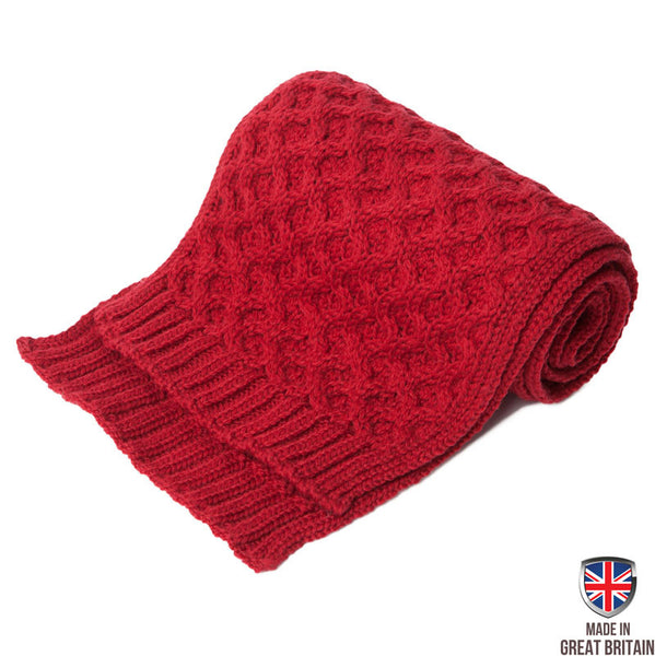 Honeycomb Merino Wool Scarf - Crimson