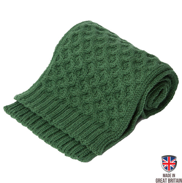 Honeycomb Merino Wool Scarf - Forest Green