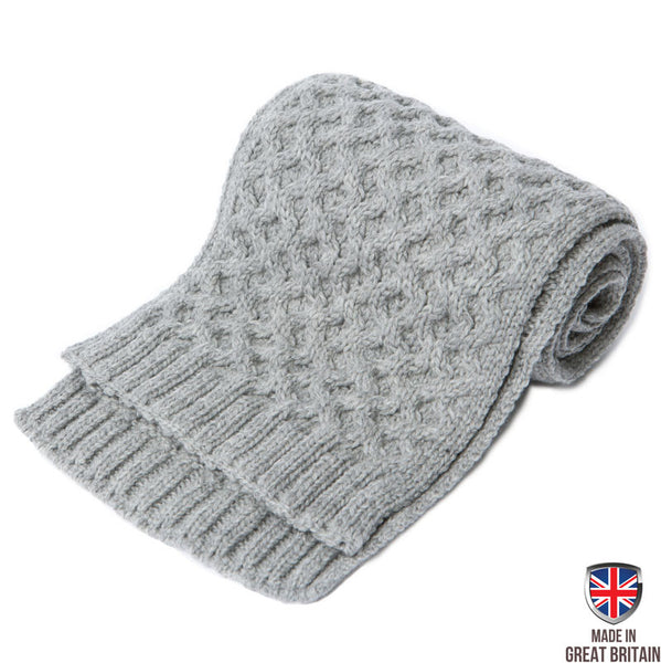 Honeycomb Merino Wool Scarf - Grey