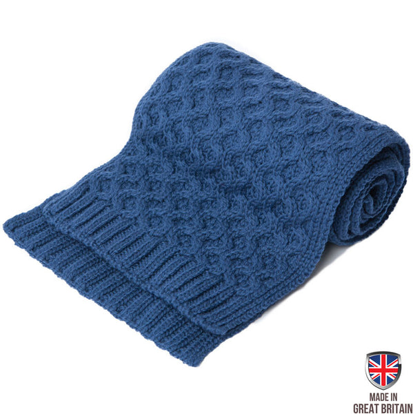 Honeycomb Merino Wool Scarf - Steel Blue