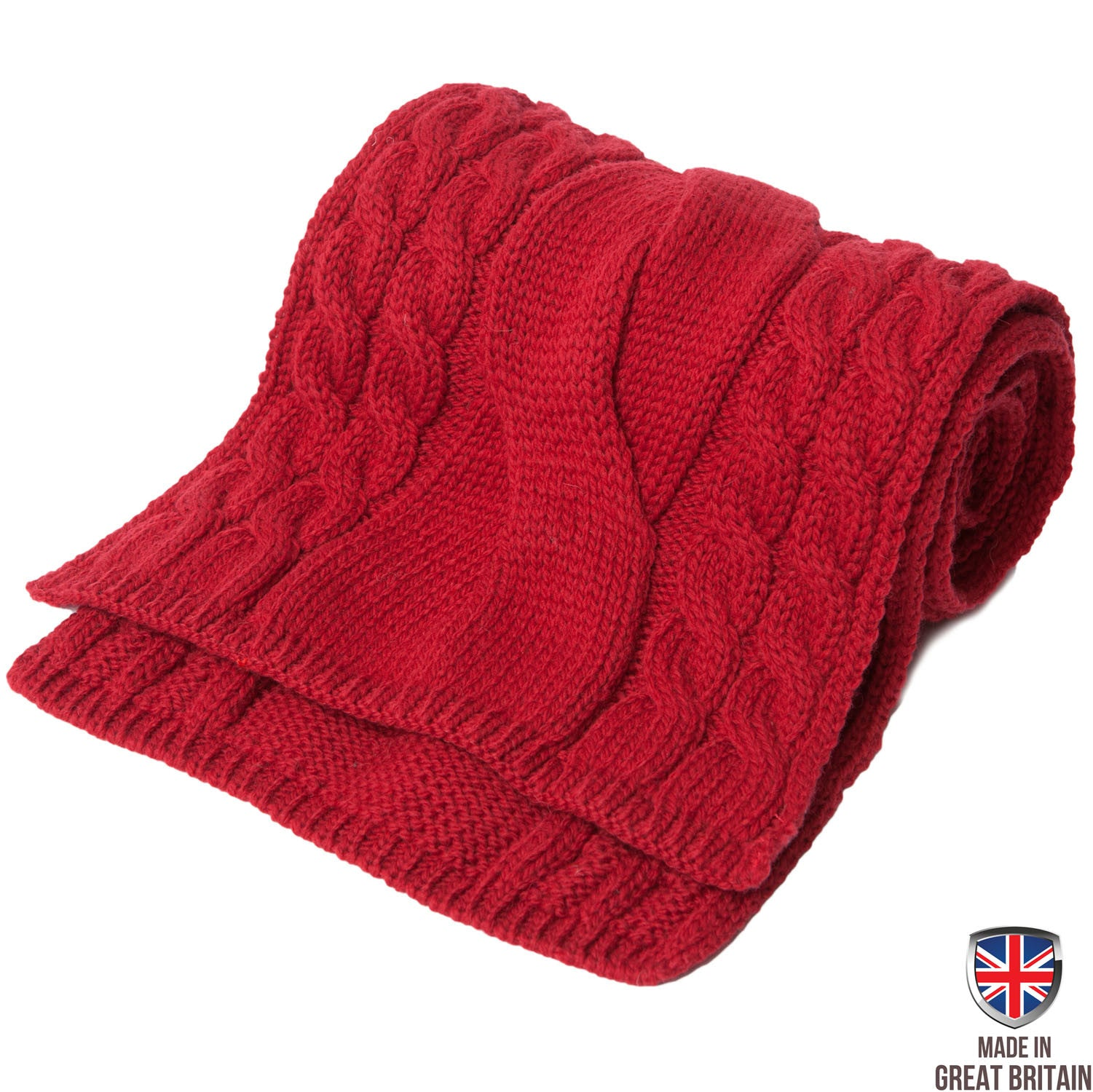 Chunky Cable Merino Wool Scarf - Crimson