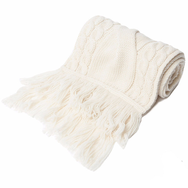 Chunky Cable Merino Wool Scarf with Fringe - Ecru