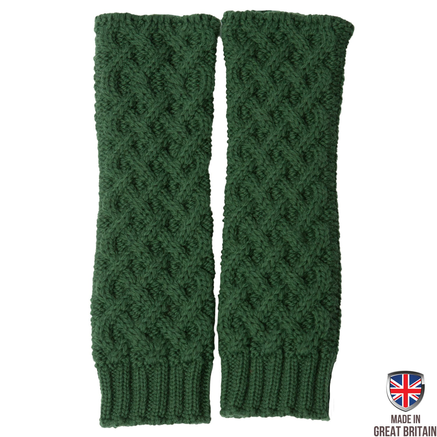 Forest Green Honeycomb Merino Armwarmers