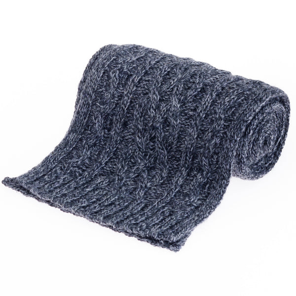 Double Twist British Wool Scarf - Steel Grey