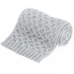 Honeycomb British Wool Scarf - Grey