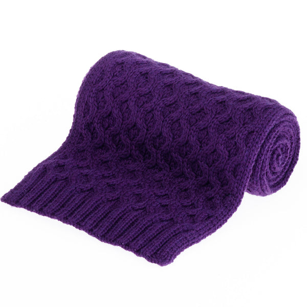 Honeycomb Merino Wool Scarf - Plum