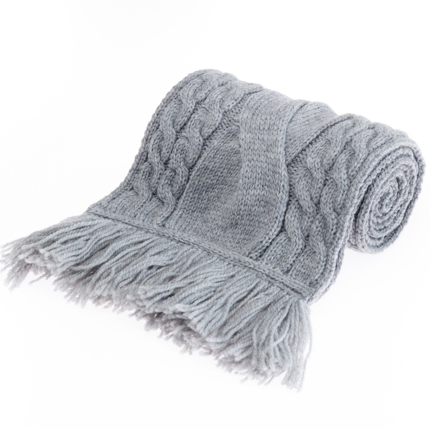 Chunky Cable Merino Wool Scarf with Fringe - Grey