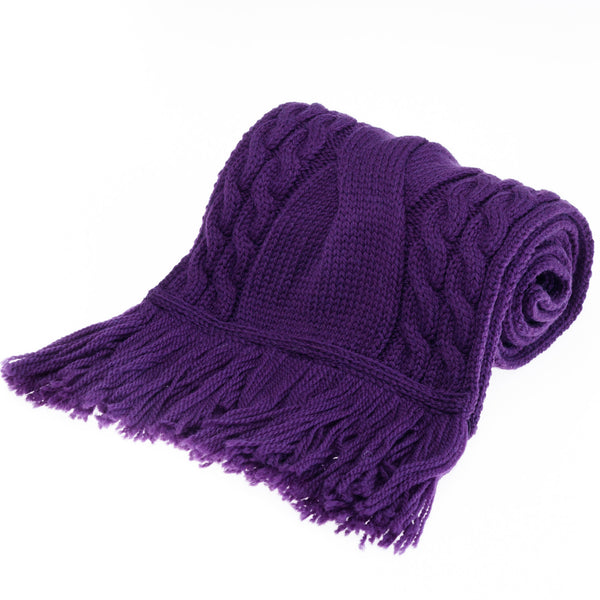 Chunky Cable Merino Wool Scarf with Fringe - Plum