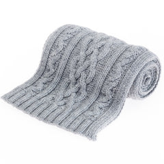 Double Twist British Wool Scarf - Grey