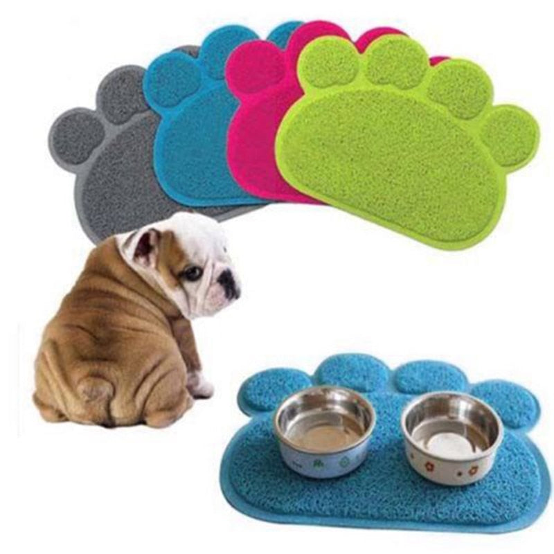 Pet place mat for feeding and water bowl or cat litter exit