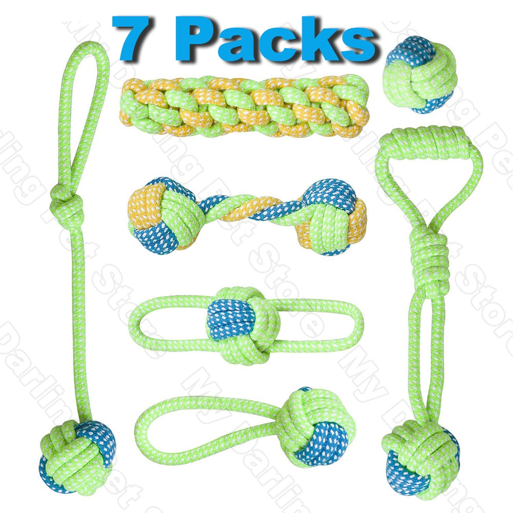7 Dog Toys in one pack made of cotton rope