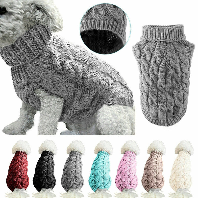Knitted winter sweater for dogs