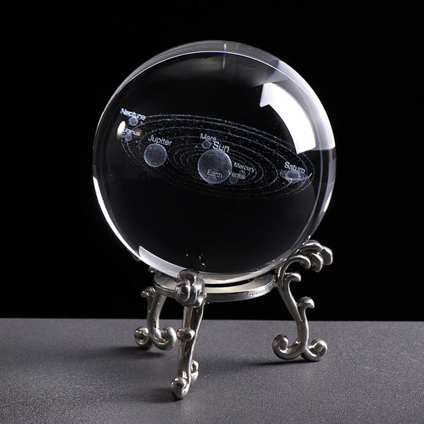 3D Solar System Crystall Ball With Laser Planets Engravings