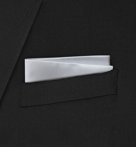 Berkeley - Straight Two Fold Plain White Pocket Square