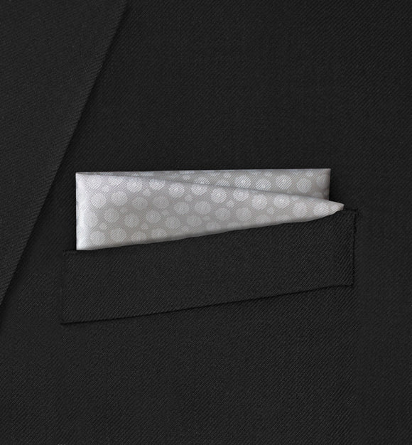 Berkeley -  Straight Two Fold White Spotted Pattern Pocket Square - Hankyz.com