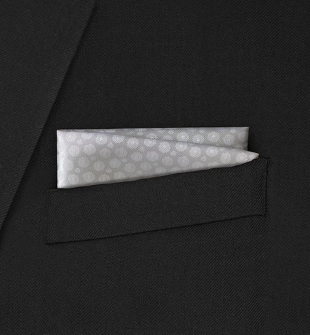 Berkeley -  Straight Two Fold White Spotted Pattern Pocket Square