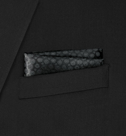 Berkeley - Straight Two Fold Black Spotted Pattern Pocket Square