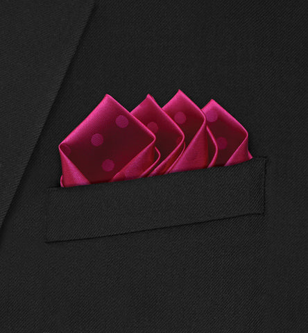 Grosvenor - Intricate Four Point Folded Red Polka Dot on Red Pocket Square