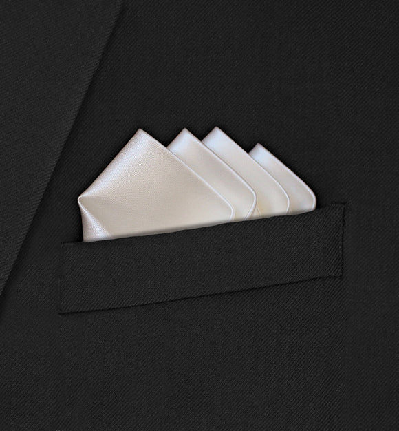 Grosvenor - Intricate Four Point Folded Ivory Pocket Square - Hankyz.com
