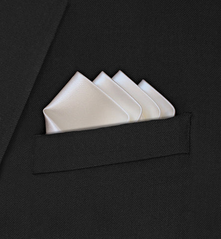 Grosvenor - Intricate Four Point Folded Ivory Pocket Square