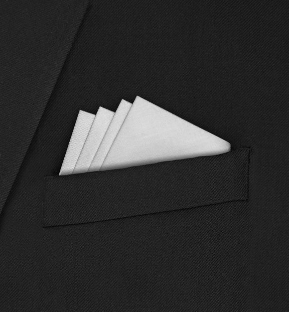 Knightsbridge - Four Point Triangle White Pocket Square - Hankyz.com