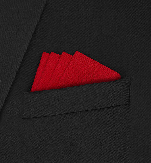 Knightsbridge - Four Point Triangle Red Pocket Square - Hankyz.com